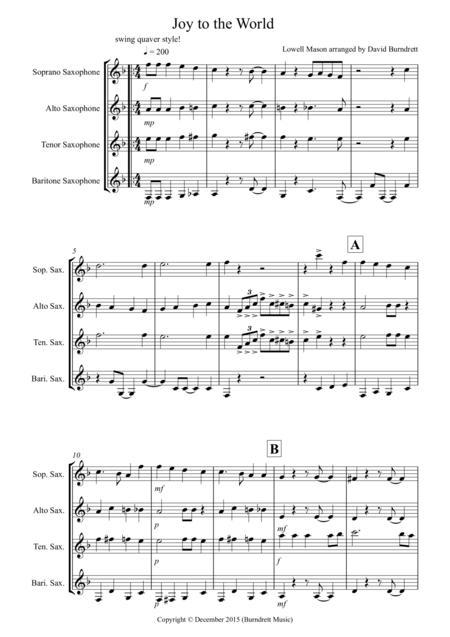 Joy to the World (Jazzy Style!) for Saxophone Quartet