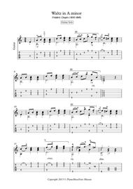 Waltz in A minor by Chopin for solo guitar