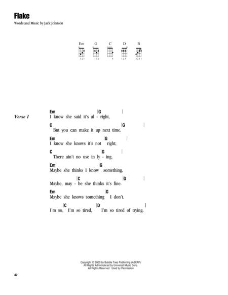 Download Flake Sheet Music By Jack Johnson Sheet Music Plus