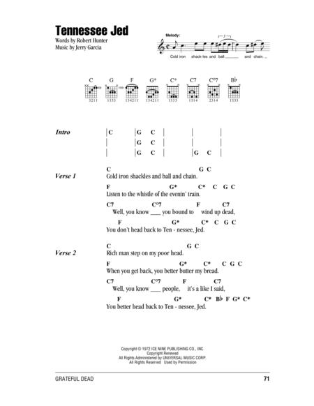 Download Tennessee Jed Sheet Music By The Grateful Dead Sheet