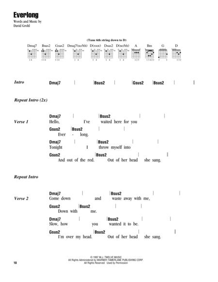 Download Everlong Sheet Music By Foo Fighters Sheet Music Plus