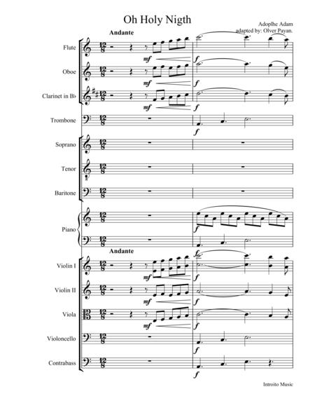 Oh Holy Night for Bariton, Soprano and Tenor, Score and set of parts