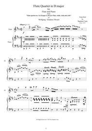 Mozart - Flute quartet in D K.285 - 1 Allegro - Version Flute and piano