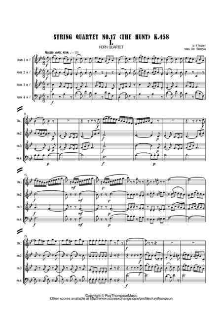 Mozart: String Quartet No.17 (The Hunt) K.458 Mvt.I - horn quartet