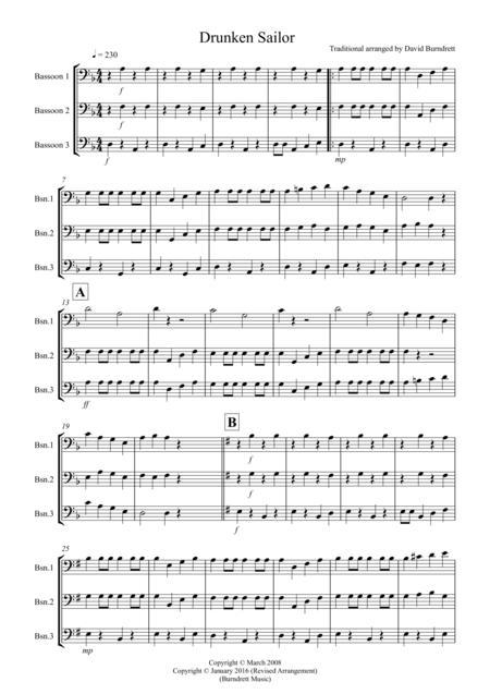 Drunken Sailor for Bassoon Trio