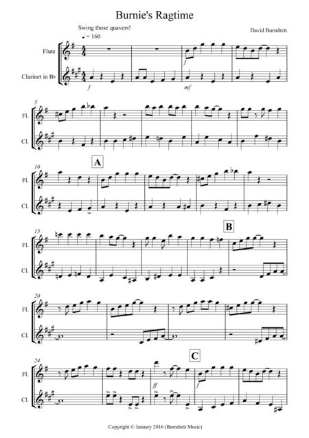 Burnie's Ragtime for Flute and Clarinet Duet
