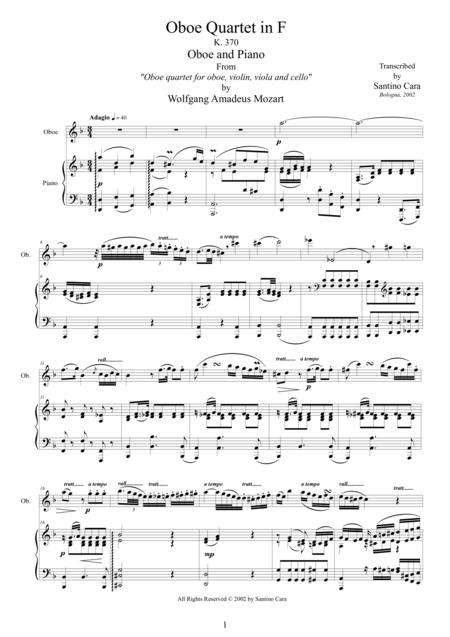 Mozart - Oboe quartet in F major K370 - 2 Adagio - Oboe and Piano