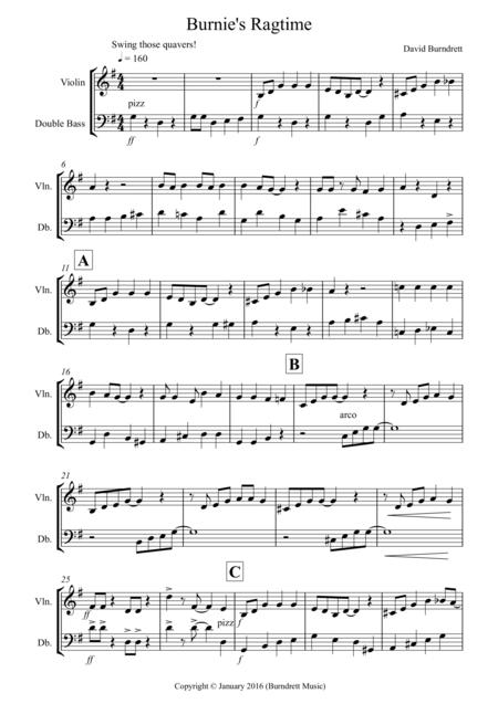 Burnie's Ragtime for Violin and Double Bass Duet