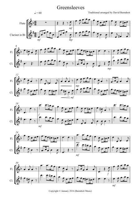 Greensleeves for Flute and Clarinet Duet