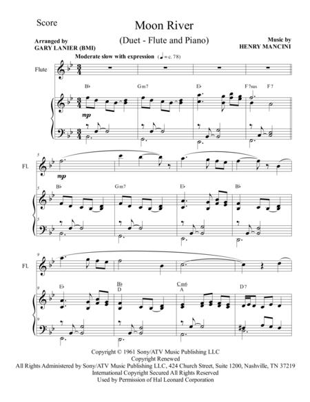 Moon River (Duet – Flute and Piano/Score and Parts)