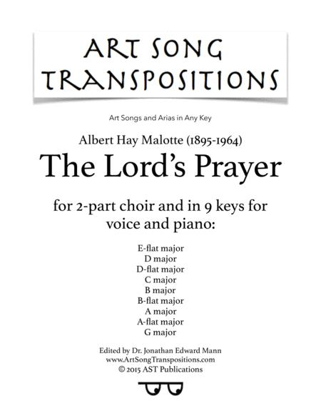 The Lord's Prayer (in 9 keys for voice and piano plus bonus arrangement for 2-part choir)