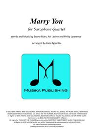 Marry You - for Saxophone Quartet