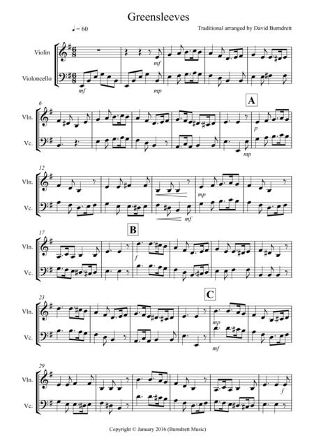 Greensleeves for Violin and Cello Duet