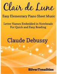 Clair de Lune Easy Elementary Piano Sheet Music