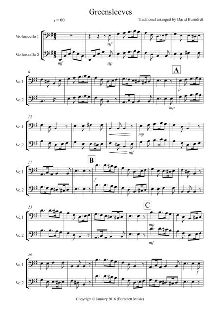 Greensleeves for Cello Duet