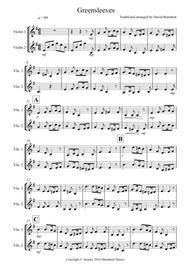 Greensleeves for Violin Duet