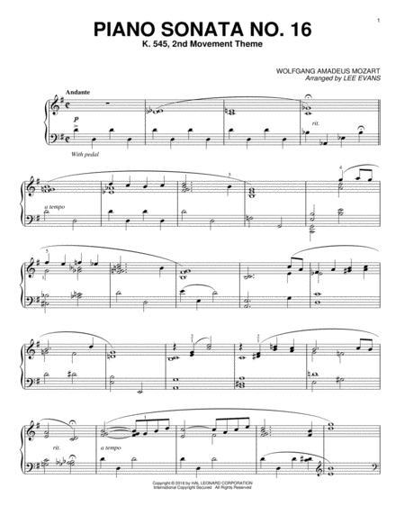 Piano Sonata In C Major, K.545, 2nd Movement