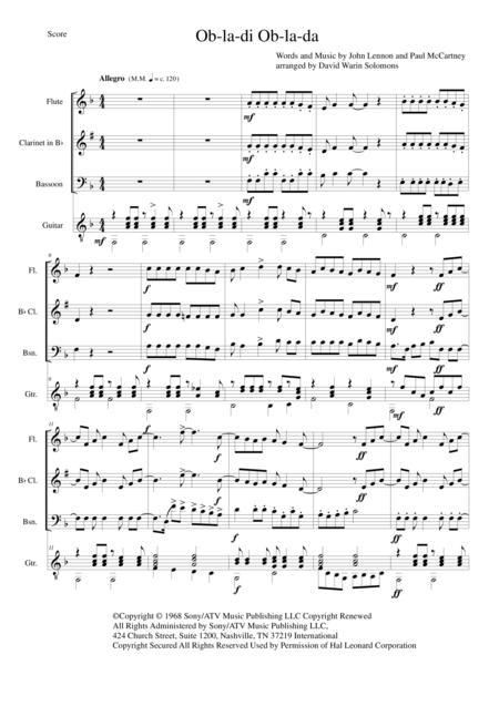 Download Ob La Di Ob La Da For Flute Clarinet Bassoon And Guitar