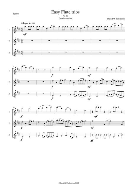 Drunken Sailor for flute trio