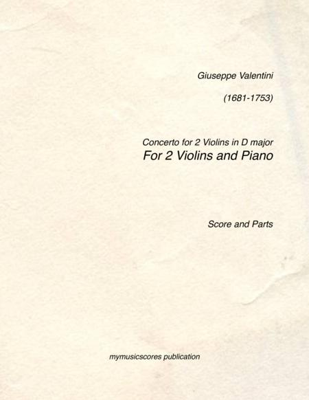 Concerto for 2 Violins in D major for 2 Violins and Piano