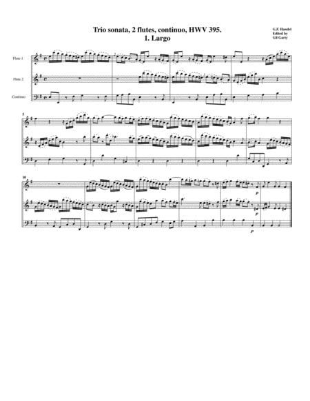 Trio sonata, HWV 395 for 2 flutes and continuo in e minor