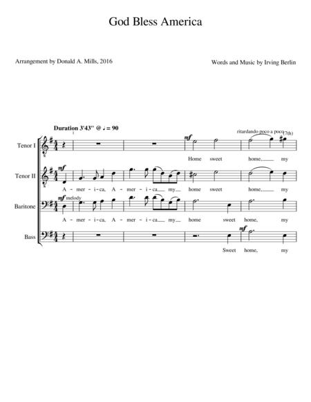 God Bless America, Arranged by Donald A. Mills
