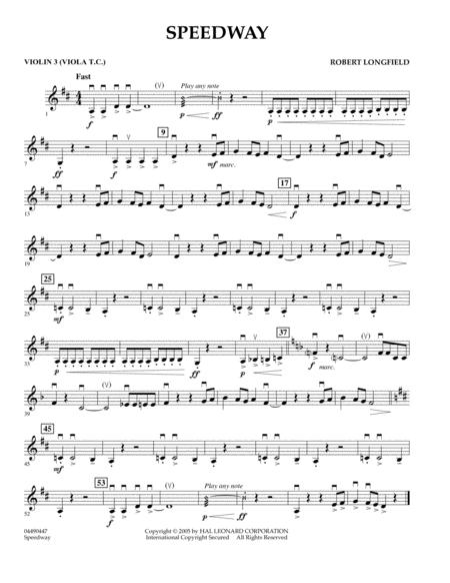 Speedway - Violin 3 (Viola T.C.)