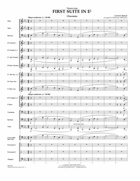 First Suite In E Flat, Themes From - Full Score