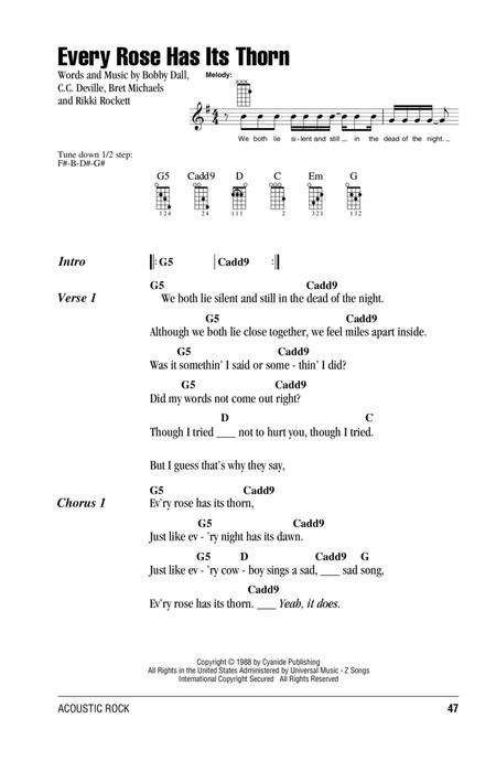 Preview Every Rose Has Its Thorn By Poison (HX.320319) - Sheet Music ...