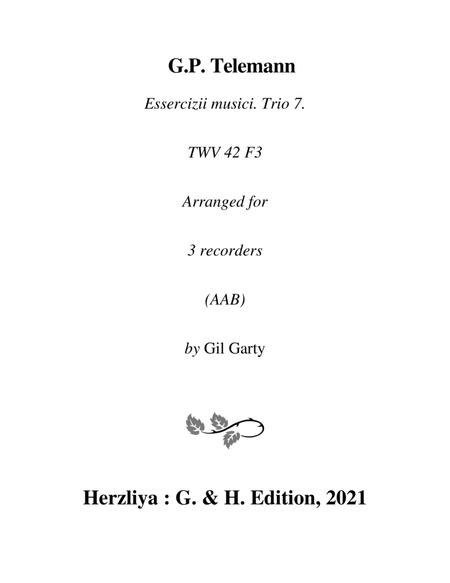 Trio sonata TWV 42:F3 (Essercizii musici, trio no.7) (arrangement for 3 recorders)