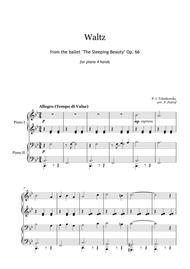 Tchaikovsky - VALTZ from the ballet ''The Sleeping Beauty'' for piano 4 hands
