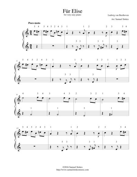 Download Für Elise - For Very Easy Piano Sheet Music By