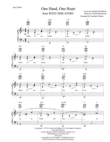 one hand one heart sheet music