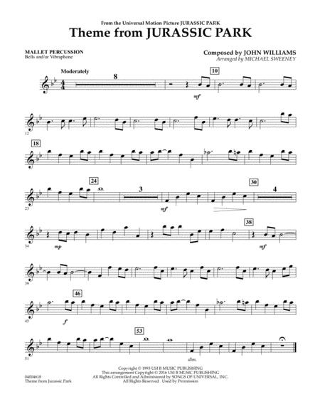 Download Theme From Jurassic Park - Mallet Percussion Sheet