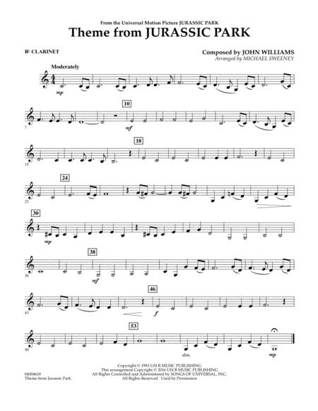 photograph relating to Free Printable Clarinet Sheet Music identified as Down load Topic Towards Juric Park - Bb Clarinet Sheet Audio