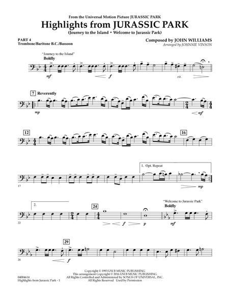 Highlights from Jurassic Park - Pt.4 - Trombone/Bar. B.C./Bsn.