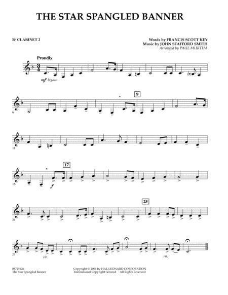 The Star Spangled Banner Bb Clarinet 2 By John Stafford Smith John Stafford Smith Digital Sheet Music For Concert Band Download Print Hx 322646 From Hal Leonard Digital Sheet