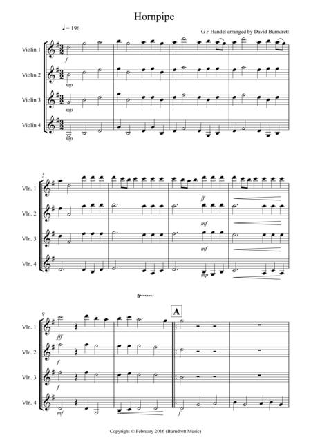 Hornpipe from Handel's Water Music for Violin Quartet