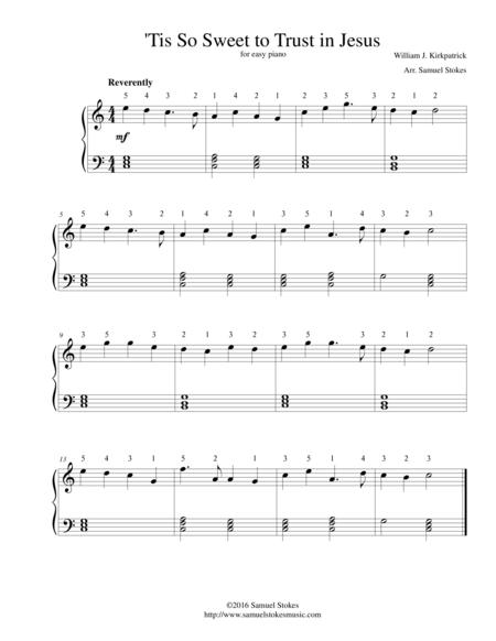 'Tis So Sweet to Trust in Jesus - for easy piano