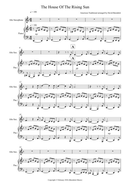 Download House Of The Rising Sun For Alto Saxophone And