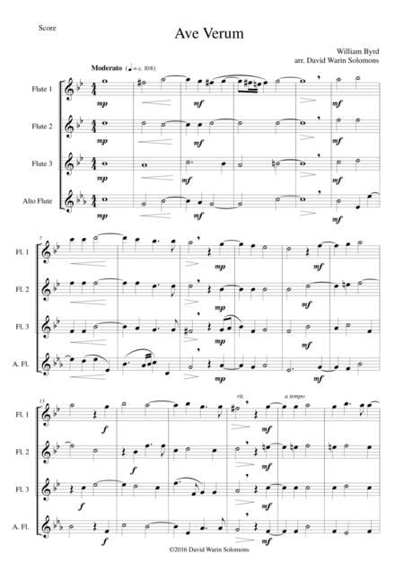 Ave Verum for 3 flutes and alto flute