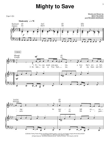 Download Mighty To Save Sheet Music By Jeremy Camp Sheet Music Plus