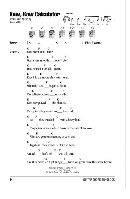 Download Kow Kow Calculator Sheet Music By The Steve Miller Band