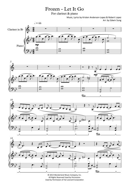 Frozen - Let It Go (for clarinet & piano, including part score)