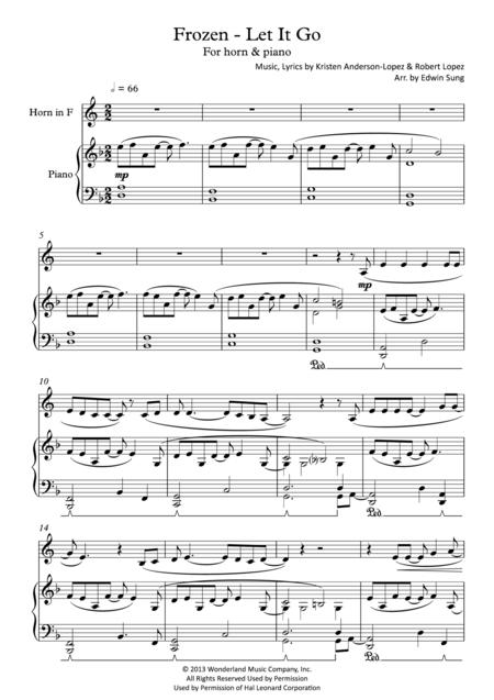 Frozen - Let It Go (for horn & piano, including part score)