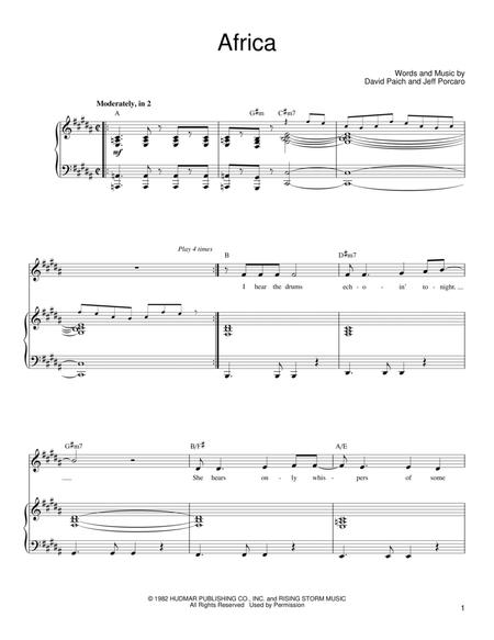 Download Africa Sheet Music By Toto Sheet Music Plus