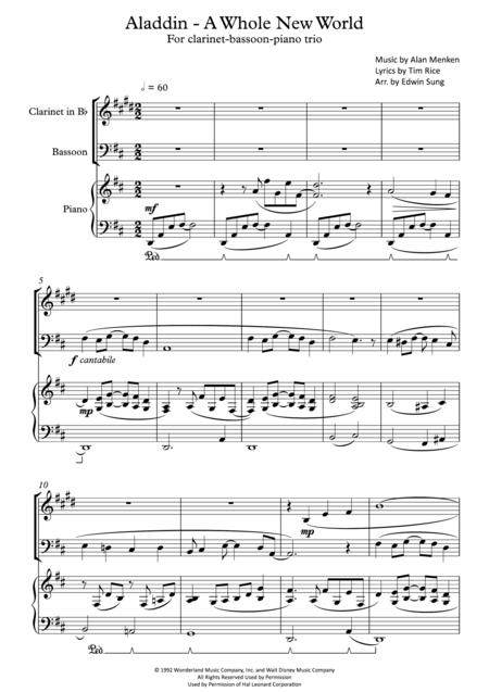 Download Aladdin A Whole New World For Clarinet Bassoon Piano
