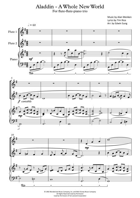 Aladdin - A Whole New World (for flute-flute-piano trio, including part scores)