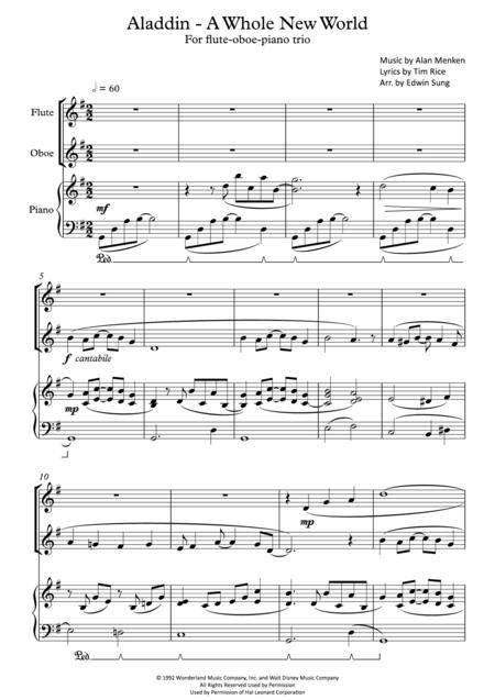 Aladdin - A Whole New World (for flute-oboe-piano trio, including part scores)