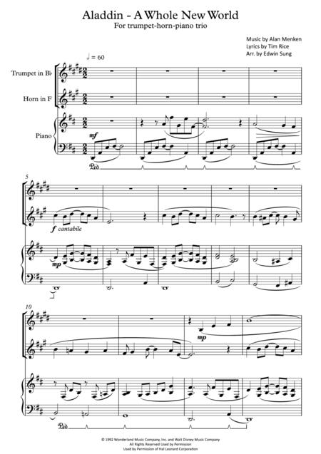 Aladdin - A Whole New World (for trumpet-horn-piano trio, including part scores)